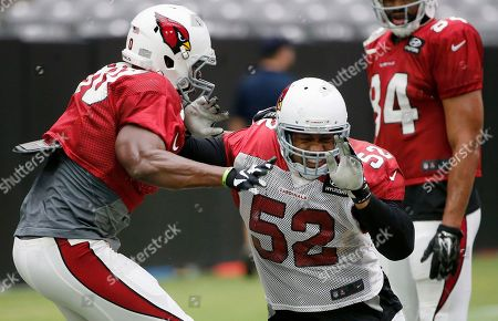 LaMarr Woodley, Ifeanyi Momah Arizona Cardinals' LaMarr Woodley (52) tries to get around Ifeanyi Momah, left, during blocking drills during an NFL football training camp practice, in Glendale, Ariz