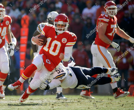 Chase Daniel, Andrew Gachkar Kansas City Chiefs quarterback Chase Daniel (10) is tripped up by San Diego Chargers inside linebacker Andrew Gachkar (59) during the first half of an NFL football game in Kansas City, Mo