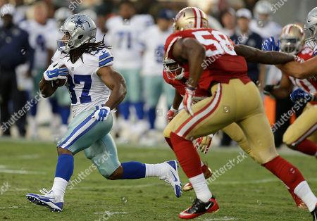 Gus Johnson Dallas Cowboys running back Gus Johnson (37) runs against the San Francisco 49ers during the second half of an NFL preseason football game in Santa Clara, Calif