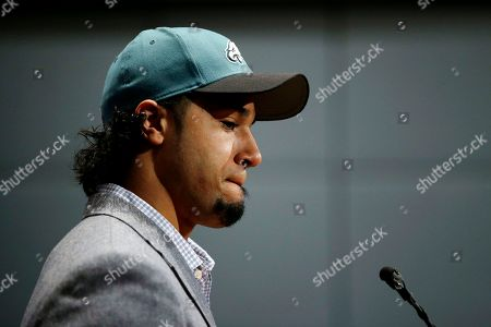 Stock Image of Ryan Matthews Newly-acquired Philadelphia Eagles running back Ryan Matthews pauses while answering a reporter's question during a news conference at the team's NFL football practice facility, in Philadelphia