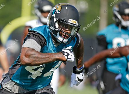 Jacksonville Jaguars linebacker Todd Thomas during practice at NFL football training camp, in Jacksonville, Fla