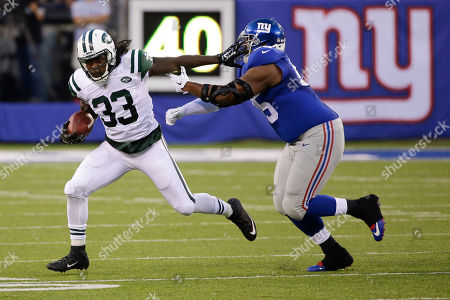 Chris Ivory New York Jets running back Chris Ivory (33) stiff arms New York Giants tackle Will Beatty (65) during the first half of a preseason NFL football game in East Rutherford, N.J