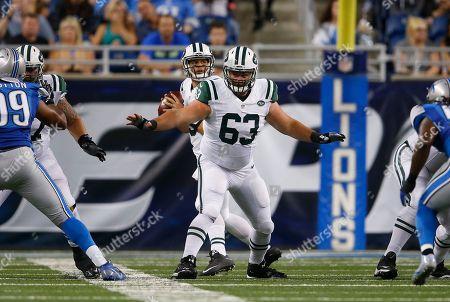 Dalton Freeman New York Jets center Dalton Freeman (63) blocks for quarterback Bryce Petty against the Detroit Lions during the first half of an NFL preseason football game, in Detroit