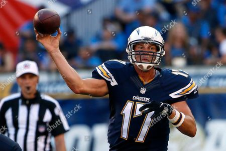 """Philip Rivers San Diego Chargers quarterback Philip Rivers throws against the Seattle Seahawks during the first half of an NFL preseason football game in San Diego. Rivers will be throwing passes to Keenan Allen and Stevie Johnson, and Melvin Gordon will be looking for holes behind the """"Mayflower Line"""" when the Chargers host the Detroit Lions in a season opener, at aging Qualcomm Stadium, the epicenter for angst among local football fans"""