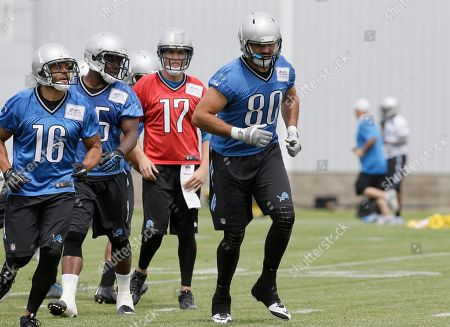 Stock Image of Joseph Fauria Detroit Lions tight end Joseph Fauria (80) prepares for a drill during NFL football minicamp, in Allen Park, Mich