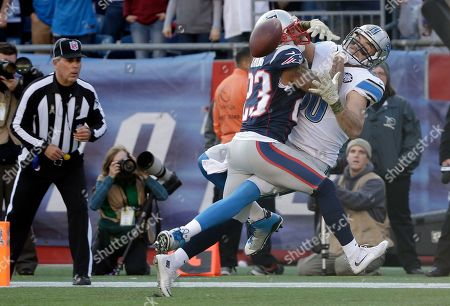 Patrick Chung, Joseph Fauria New England Patriots strong safety Patrick Chung (23) breaks up a pass in the end zone intended for Detroit Lions tight end Joseph Fauria (80) in the first half of an NFL football game, in Foxborough, Mass