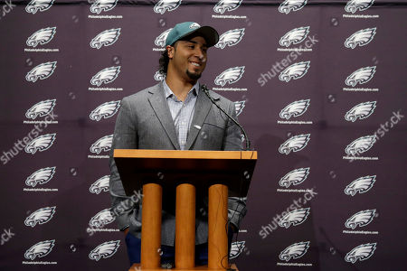 Stock Picture of Ryan Matthews Newly-acquired Philadelphia Eagles running back Ryan Matthews smiles while answering a reporter's question during a news conference at the team's NFL football practice facility, in Philadelphia