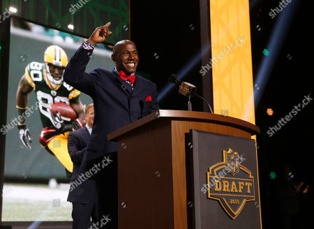 Stock Image of Former Green Bay Packers wide receiver Donald Driver announces that the Packers selects Miami of Ohio defensive back Quinten Rollins as the 62nd pick in the second round of the 2015 NFL Football Draft, in Chicago