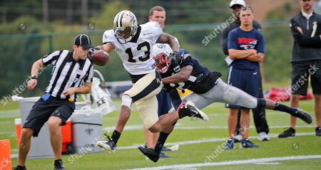 Joseph Morgan, Malcolm Butler New Orleans Saints wide receiver Joseph Morgan (13) stretches to the end zone as New England Patriots cornerback Malcolm Butler (21) tries to make the stop during a joint practice at the Saints' NFL football training camp in White Sulphur Springs, W.Va