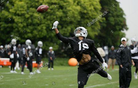 Josh Harper Oakland Raiders wide receiver Josh Harper misses a pass during NFL football minicamp, in Alameda, Calif