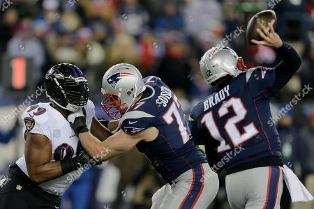 Nate Solder, Chris Canty, Tom Brady New England Patriots tackle Nate Solder (77) blocks Baltimore Ravens defensive end Chris Canty (99) as New England Patriots quarterback Tom Brady (12) passes in the first half of an NFL divisional playoff football game, in Foxborough, Mass