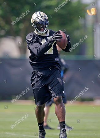 Josh Morgan New Orleans Saints wide receiver Josh Morgan (17) works out during an NFL football organized team activity in Metairie, La