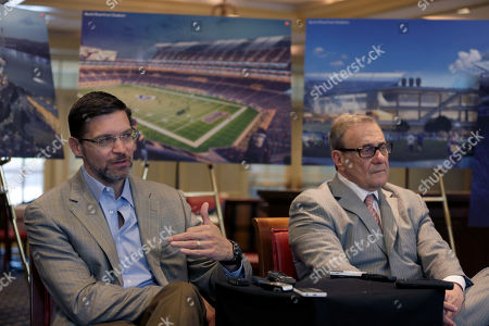 Dave Peacock, Bob Blitz With artist's renderings as a backdrop, Dave Peacock, left, and Bob Blitz, leaders in the effort to build a new NFL stadium in St. Louis, speak with the media two days after making a presentation to the league, in St. Louis. The pair say they remain optimistic about a plan that they believe would keep a team and help redevelop a blighted part of the city