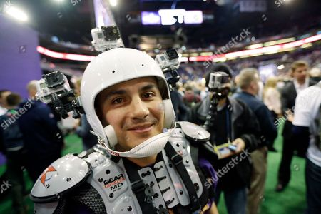 NBC Sports' Karim Mendiburu Contreras during media day for NFL Super Bowl XLIX football game, in Phoenix