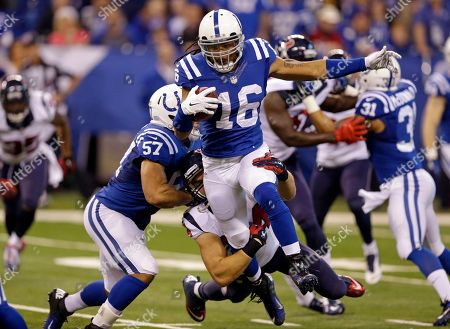 Josh Cribbs, Mike Mohamed Indianapolis Colts wide receiver Josh Cribbs (16) is tackled by Houston Texans inside linebacker Mike Mohamed on the opening kickoff during the first half of an NFL football game in Indianapolis