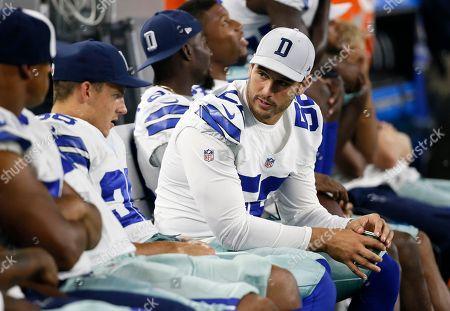 Andrew Gachkar Dallas Cowboys' Andrew Gachkar (52) talks with teammates on the bench in a preseason NFL football game against the Houston Texans, in Arlington, Texas