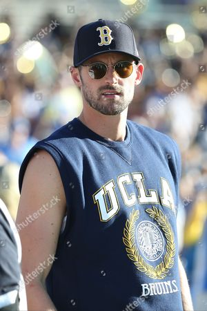 NBA star and UCLA aliments Kevin Love makes an appearance before the game between the Stanford Cardinals and the UCLA Bruins, the Rose Bowl in Pasadena, CA