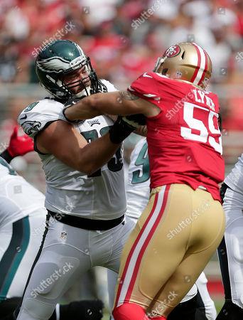 Ahmad Brooks, Todd Herremans Philadelphia Eagles guard Todd Herremans (79) blocks San Francisco 49ers linebacker Ahmad Brooks (55) during the first half of an NFL football game in Santa Clara, Calif