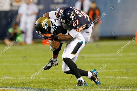Kerry Taylor, Sherrick McManis Jacksonville Jaguars wide receiver Kerry Taylor (13) is tackled by Chicago Bears cornerback Sherrick McManis (27) during the first half of an NFL preseason football game in Chicago
