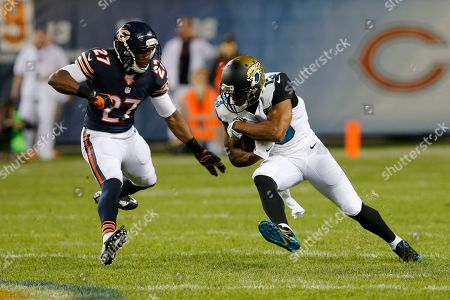 Kerry Taylor, Sherrick McManis Jacksonville Jaguars wide receiver Kerry Taylor (13) tries to run past Chicago Bears cornerback Sherrick McManis (27) during the first half of an NFL preseason football game in Chicago