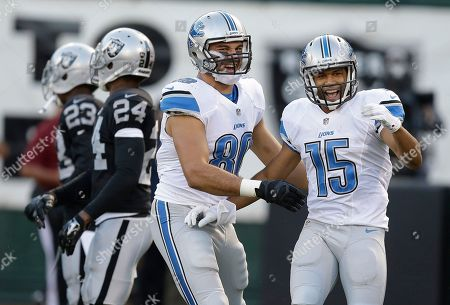 Golden Tate, Joseph Fauria Detroit Lions wide receiver Golden Tate (15) celebrates after scoring on a 28-yard touchdown reception with tight end Joseph Fauria during the first quarter of an NFL preseason football game against the Oakland Raiders in Oakland, Calif
