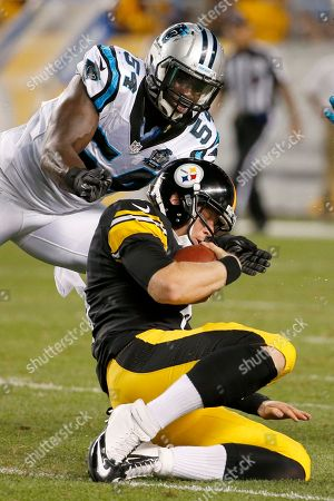 Brendon Kay, Jason Williams Pittsburgh Steelers quarterback Brendon Kay (8) slides as Carolina Panthers linebacker Jason Williams (54) pursues in the third quarter of a NFL preseason football game on in Pittsburgh