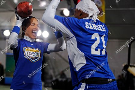 Susie Castillo Former Miss USA and actress Susie Castillo gets congratulated by NFL Hall of Famer Deion Sanders after participating in the touchdown celebration with teammates at the Tazon Latino NFL Super Bowl event at the Chelsea Waterside Park in NYC on . Univision will telecast the event on Saturday, February 1, 2014 at 4:55pm EST