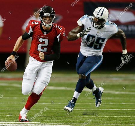 Matt Ryan Atlanta Falcons quarterback Matt Ryan (2) moves the ball out of the pocket as Tennessee Titans defensive end Kamerion Wimbley (95) defends during the first half of an NFL preseason football game, in Atlanta