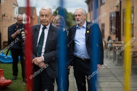 Jeremy Corbyn (r) and Frank Field (l) visit Beaconsfield Community House in Birkenhead, following Corbyn's victory declaration. The centre provides clothes and food that would otherwise be destined for waste from supermarkets, to local residents in need.