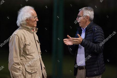 Benetton Treviso President Amerino Zatta speaks with Luciano Benetton.