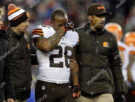 Stock Image of Willis McGahee Cleveland Browns running back Willis McGahee is helped from the field after being injured in the fourth quarter of an NFL football game against the New England Patriots, in Foxborough, Mass