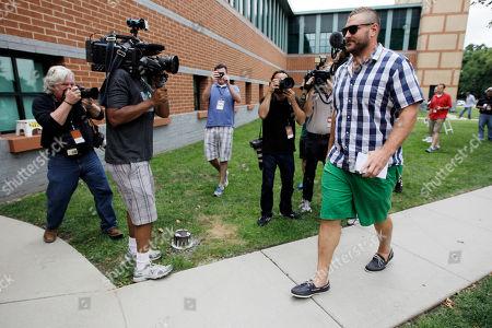 Philadelphia Eagles' Todd Herremans arrives at the team's NFL football training camp in Philadelphia