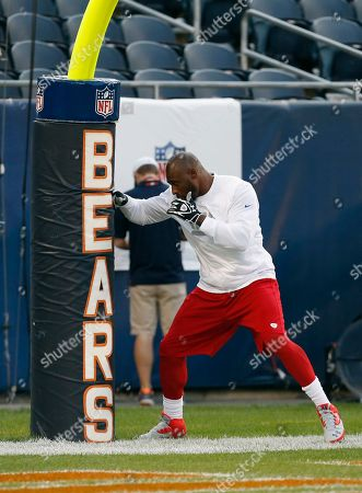 Brandon Jacobs New York Giants running back Brandon Jacobs uses the goal post as a punching bag during warm-ups before an NFL football game against the Chicago Bears, in Chicago