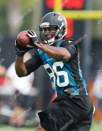 Stock Photo of Isaiah Stanback Jacksonville Jaguars tight end Isaiah Stanback (86) catches a pass during NFL football training camp, in Jacksonville, Fla