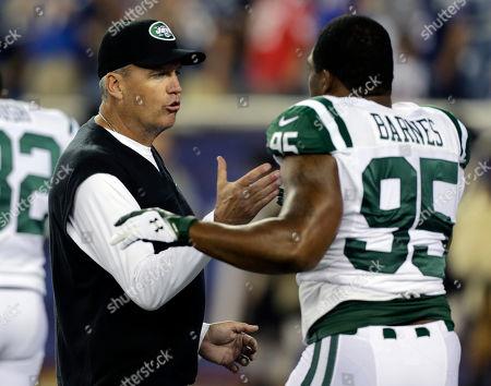 Rex Ryan, Antwan Barnes New York Jets head coach Rex Ryan, left, speaks to Jets linebacker Antwan Barnes (95) before an NFL football game against the New England Patriots, in Foxborough, Mass