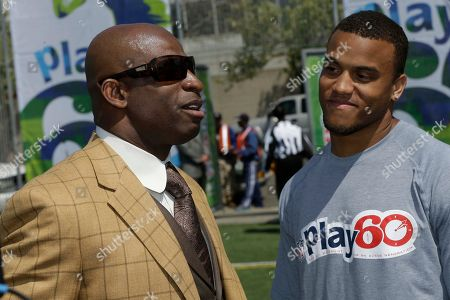 Dee Milliner, Dion Sanders NFL draft prospect Dee Milliner of Alabama, right, talks with former NFL player Dion Sanders during a youth football clinic in New York