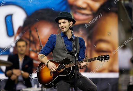 Musician Tony Lucca performs during the halftime period of an NFL football game between the Detroit Lions and the Green Bay Packers at Ford Field in Detroit