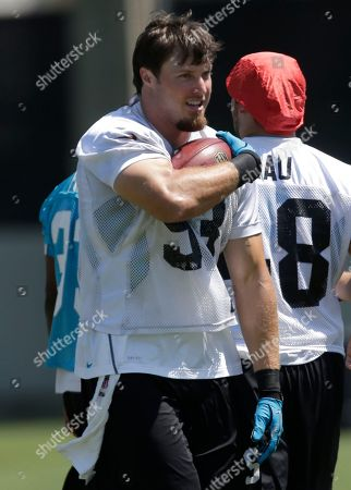 Chase Blackburn Carolina Panthers' Chase Blackburn runs with the ball during a drill during the NFL football team's minicamp practice in Charlotte, N.C