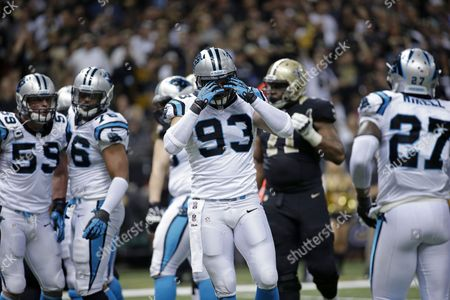 Chase Blackburn Carolina Panthers outside linebacker Chase Blackburn (93) reacts between plays in the second half of an NFL football game against the New Orleans Saints in New Orleans