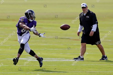 Visanthe Shiancoe, Wade Harman Baltimore Ravens tight end Visanthe Shiancoe, left, prepares to catch a pass as tight ends coach Wade Harman looks on during NFL football training camp at the team's practice facility in Owings Mills, Md