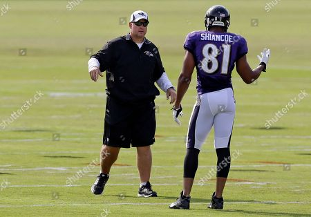 Stock Picture of Visanthe Shiancoe, Wade Harman Baltimore Ravens tight ends coach Wade Harman, left, speaks with tight end Visanthe Shiancoe during NFL football training camp at the team's practice facility in Owings Mills, Md