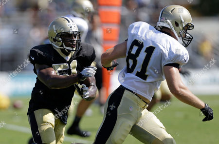 Jonathan Vilma, Mike Higgins (81 New Orleans Saints outside linebacker Jonathan Vilma (51) pursues tight end Mike Higgins (81) during their NFL football training camp in Metairie, La