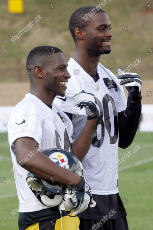 Plaxico Burress, Antonio Brown Pittsburgh Steelers wide receivers Plaxico Burress (80), right, Antonio Brown (84) laugh at practice during NFL football training camp at the team training facility in Latrobe, Pa