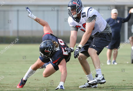 Brooks Reed, Andrew Gardner Houston Texans outside linebacker Brooks Reed, left, and tackle Andrew Gardner (66) work out during NFL football training, in Houston