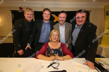 Angus Robertson MP, Chris McEleny, Alyn Smith MEP and Tommy Sheppard MP pose with Linda Fabiani MSP (East Kilbride) who chaired their last hustings together