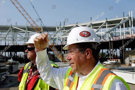 New Santa Clara Stadium, Jack Hill, Dave Masel Project executive Jack Hill, right, and general superintendent Dave Masel stand at the 50-yard line spot at the new Santa Clara Stadium, the future home for the San Francisco 49ers NFL football team, in Santa Clara, Calif