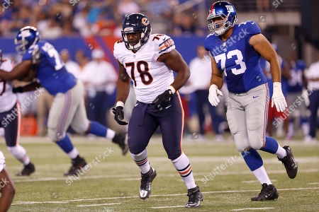 James Brown, James Brewer Chicago Bears tackle James Brown (78) and New York Giants' James Brewer (73) trail the play during the second half of an NFL preseason football game, in East Rutherford, N.J