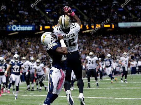 Stock Picture of Marques Colston, Antoine Cason New Orleans Saints wide receiver Marques Colston (12) pulls in a touchdown reception in front of San Diego Chargers cornerback Antoine Cason (20) in the second half of an NFL football game at the Mercedes-Benz Superdome in New Orleans