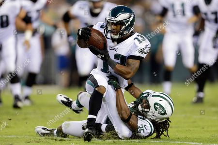 Damaris Johnson, Isaiah Trufant Philadelphia Eagles wide receiver Damaris Johnson, left, is tackled by New York Jets defensive back Isaiah Trufant in the first half of a preseason NFL football game, in Philadelphia