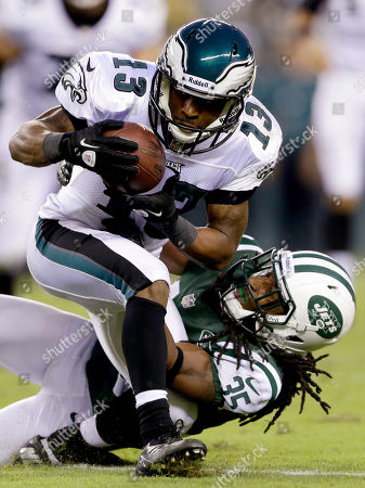 Damaris Johnson, Isaiah Trufant Philadelphia Eagles wide receiver Damaris Johnson (13) is tackled by New York Jets defensive back Isaiah Trufant in the first half of a preseason NFL football game, in Philadelphia